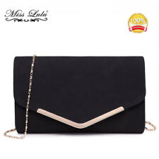 WOMEN EQUINS CHAIN ENVELOPES CLUTCH EVENING BAG CROSS BODY PU LEATHER 096a58b951187