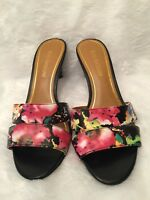 Enzo Angiolini Womens Mules Heels Size 8.5M Multicolor Floral Slip On Slim Heel