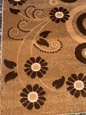 "QUALITY MODERN RUG  120x170cm (4'x5'6"") LEAVES/FLOWER PATTERN BEiGE/brown"