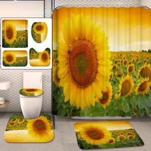 Bathroom Sunflower Shower Curtain Toilet Polyester Cover Rug Mat Home Decor Set