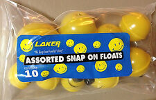 New, One Package Of 10 LAKER Asst. Sizes Snap-On Smiley Floats/Bobbers
