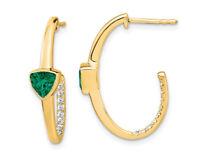 1.25 Carat (ctw) Lab-Created Trillion Emerald J-Hoop Earrings in 14K Yellow Gold