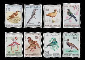 1965-66 TUNISIA BIRDS SWALLOWS BUSTARD ROLLER COURSER SCT.C25-32 MI.639-42 655-8