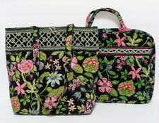 Vera Bradley Botanical Tote Bag/Purse w Matching Laptop Sleeve/Cover
