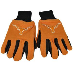 NCAA Texas Longhorns Utility Gloves Work One Size Textured Palms Orange Black