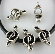 12pcs Tibetan Silver Big Hole Musical note Spacer Bead Fit Bracelet  7x9x18mm