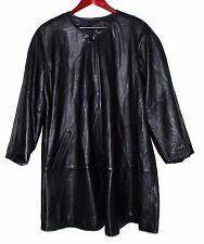 RZR COLLECTION Black Pebbled Soft Leather Womens Coat w/ Siingle Top Button Sz M
