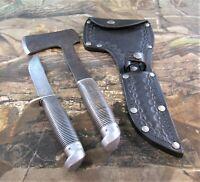 Vintage Western Boulder Colo USA Black Beauty Hatchet & F66 Knife Set W/Sheath