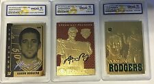 AARON RODGERS AUTOGRAPHED GEMMT-10 23KT GOLD (3) CARD LOT! GREEN BAY PACKERS!