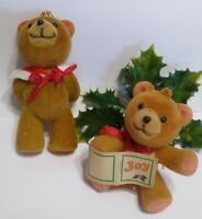 Vintage FLOCKED Christmas Ornaments TEDDY BEARS lot of 2