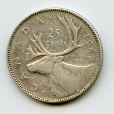 Weeda Canada 1947 dot silver quarter, key variety, Charlton $150 as VF