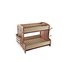 Kitchen 2 Two Tier Dish Drainer Dual Drip Tray Cutlery Cup Rack Holder L-Brown