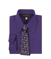 boys purple Lapis Eggplant formal dress shirt with matching tie for easter