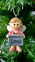 *Personalised - Any Name* Pink Fairy Christmas Tree Decoration Xmas Add Gift Box