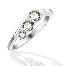 Brilliant Women Bridal Engagement Journey Silver Rings Charms Sapphire Crystal