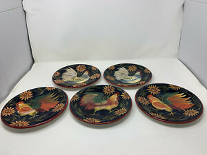 "5 Certified International Susan Winget Hen Rooster Sunflower 8 1/4"" Plates"