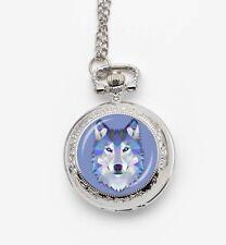 silver tone wolf art necklace pendant pocket watch long chain vintage