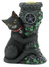 Katze Figur mit Kerzenhalter Midnight Gothic Mittelalter Hexen Wicca Tiere