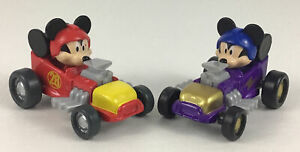 Mickey Mouse Roadster Racer Cars 2pc Lot Red 28 and Purple Lighting Disney 2016