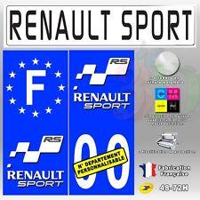 Stickers Plaque d'immatriculation Renault Sport Fond Bleu 4 pièces Auto Moto