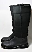 FREE LANCE PARIS SHOES BLACK SHEARLING LEATHER BOOTS CONVERTIBLE CUFF PULL ON 39