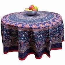 "Handmade 100% Cotton Elephant Mandala Floral 81"" Round Tablecloth Blue Red Green"