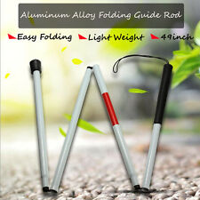 "49"" Visually Impaired FOLDING BLIND CANE WALKING STICK WRIST STRAP REFLECTOR"