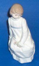 Vintage Nadal Spain Fine Porcelain Figurine Sitting Girl With A Single Flower