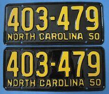 1950 North Carolina matched pair license plates professionally restored show qua