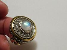 Substantial Moonstone, Topaz Ring 925 Sterling Silver Brass look of Gold Sz 7.5