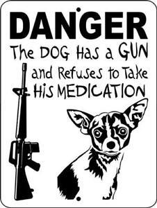 6003 DANGER DOG GOT A GUN ALUMINUM DOG SIGNS 9 X 12