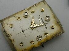 Antique Gt Longines Diamond Dial Watch Movement 25.5x17 mm 17 jewels.# 9LT/
