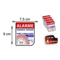 Autocollant Alarme propriété sous vidéo surveillance alarme logo 64 sticker x4