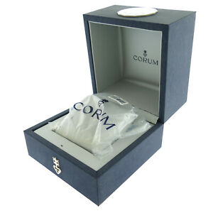 GENUINE CORUM ADMIRAL'S CUP BLUE BOX WITH GRAY SATIN INTERIOR AND OUTER BOX