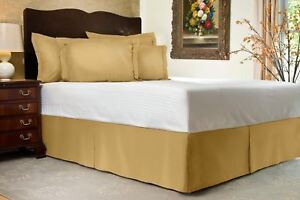 Gold Solid Bed Skirt Select Drop Length All US Size 1000 TC Egyptian Cotton