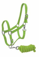 LIME Horse Size Adjustable Nylon Halter W/ Matching Lead Rope! NEW HORSE TACK!