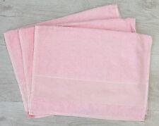 ASCIUGAMANO 3PZ SPUGNA 100%COTONE con tela aida da ricamare COLORE ROSA CM 40X60