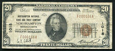 1929 $20 NORTHAMPTON NB & TRUST CO. NORTHAMPTON, MA NATIONAL CURRENCY CH. #1018