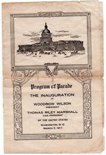 1917 Woodrow Wilson Inaugural Parade Program