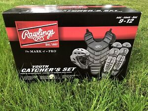 New Rawlings Renegade 2.0 RCSNY Youth Baseball Catchers Gear Set Black/Silver