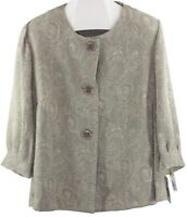 Azure Ladies Womens Beige Button Up Patterned Long Sleeve Jacket Size 18W