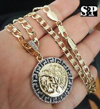 """New Luxury Gold PT Medusa Head Pendant w/ 6mm 24"""" Cuban Chain Hip Hop Necklace"""