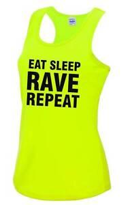 EAT SLEEP RAVE REPEAT Ladies Sports Vest 8-16 Party Fancy Dress T-Shirt Neon Top