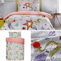 Multi Duvet Covers Mermaid Pom Pom Girls Reversible Quilt Cover Bedding Sets