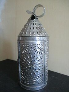 ANTIQUE LGE TIN STAMPED CANDLE LAMP PRIMITIVE AMERICAN PENNA. FOLK ART LIGHTING
