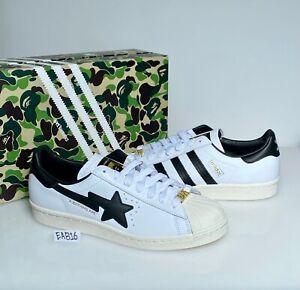 Adidas x Bape Superstar 80s White and Black GZ8980 A Bathing Ape Size 8-11.5