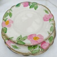 "3 pcs Vintage Franciscan Desert Rose Hand Painted Bread Dessert Plates 6.25"" USA"