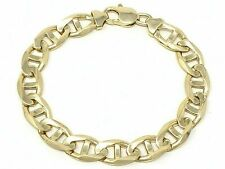 "14k Yellow Gold Concave Mariner Gucci Style Chain Bracelet 8.5"" 10mm 28 grams"
