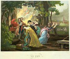 Jean pierre Marie JAZET-le feu/Le Feu-vivacité aquatinte 1835