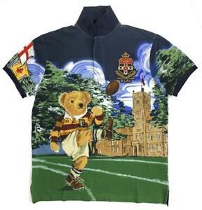 Polo Bear Ralph Lauren Mens Rugby Kicker Football Bear Casual Fashion Polo Shirt